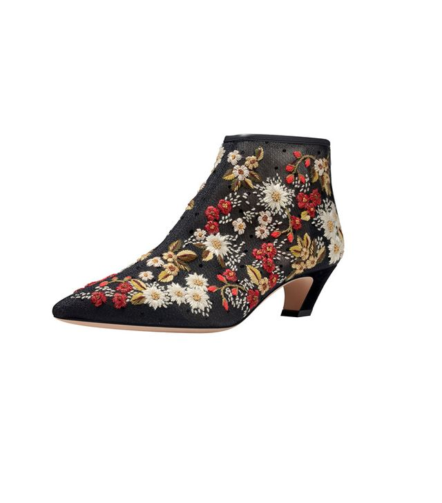 Floral-Embroidered Plumetis Boot