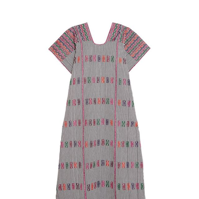 Embroidered Striped Cotton Kaftan
