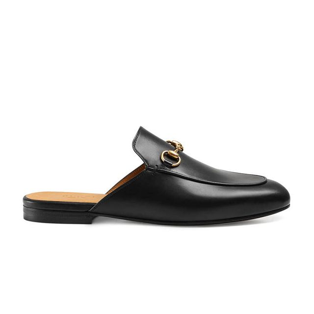 Princetown Leather Horsebit Mule Slipper Flat
