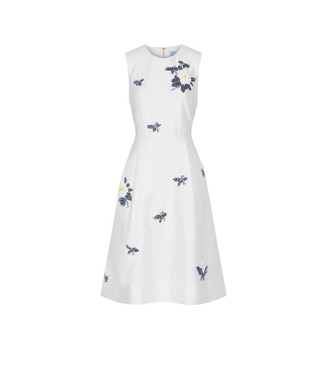 Embellished Silk And Cotton-blend Dress