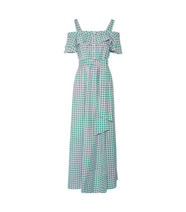 Dolly Cold-shoulder Gingham Cotton And Silk-blend Maxi Dress