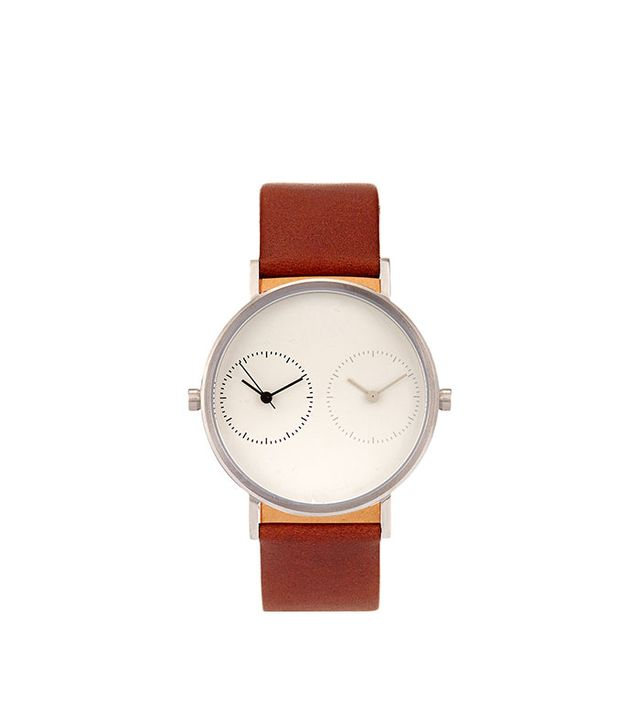 Long Distance 1.0 steel and leather watch
