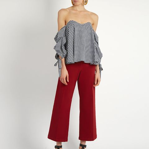 Gabriella Off-The-Shoulder Gingham Top