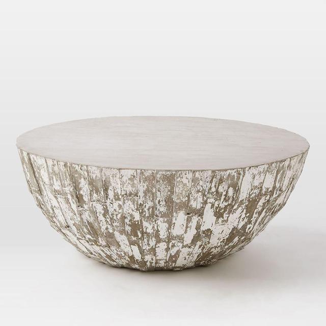 West Elm Sculpted Concrete Drum Coffee Table