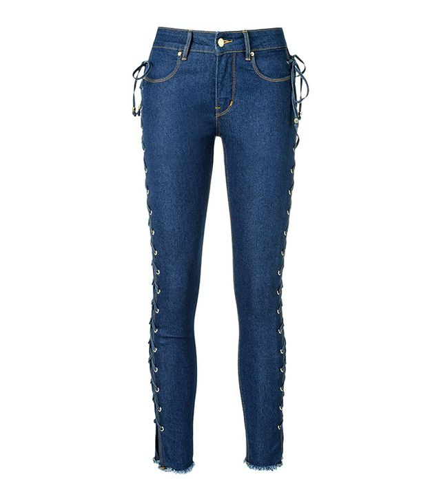 side lace up skinny jeans