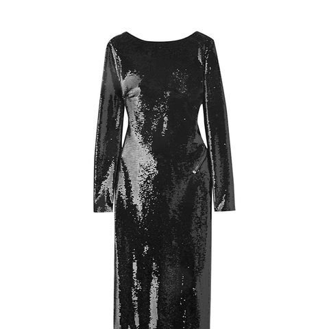 Open-Back Sequined Satin Midi Dress