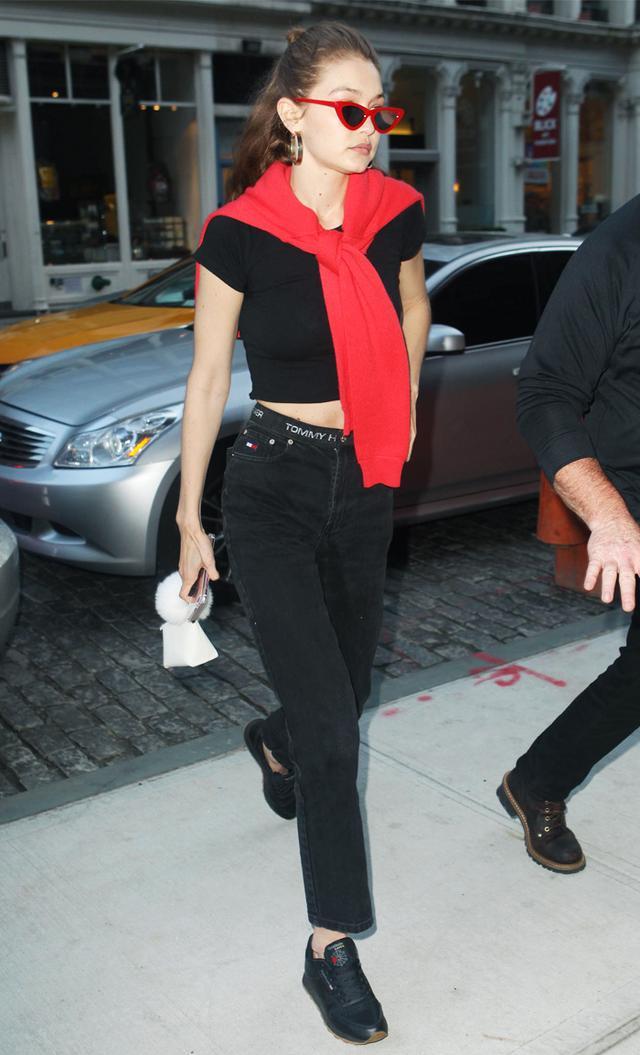 Gigi Hadid red jumper