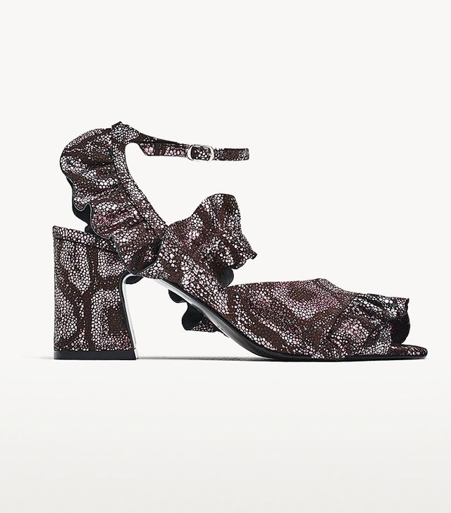 Zara High Heel Leather Sandals With Ruffles