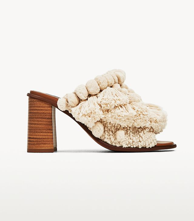 Zara High Heel Mules With Pompoms