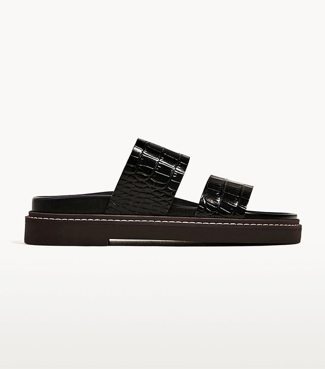 Zara Embossed Flat Leather Sandals