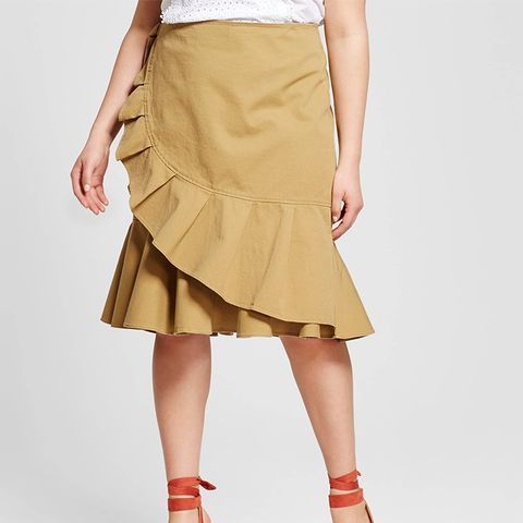 Plus Size Ruffle Wrap Skirt