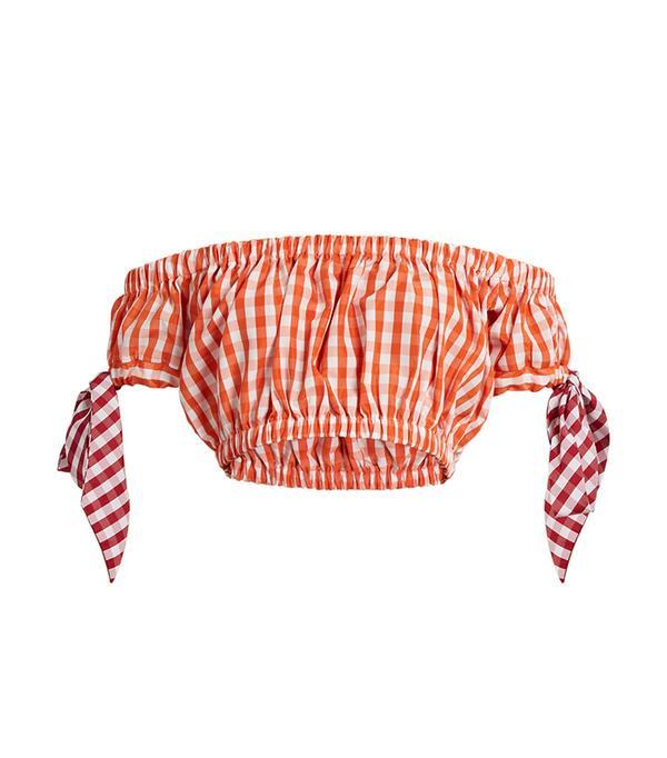 Off-the-shoudler gingham bandeau top