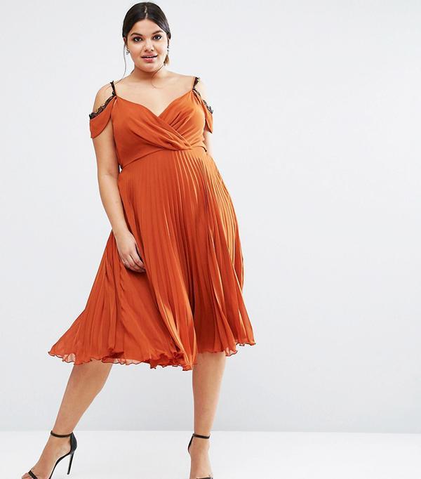ASOS CURVE Lace Trim Pleated Midi Skater Dress