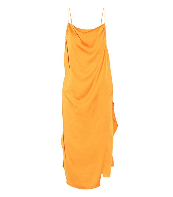 Altara Asymmetric Draped Crepe De Chine Midi Dress
