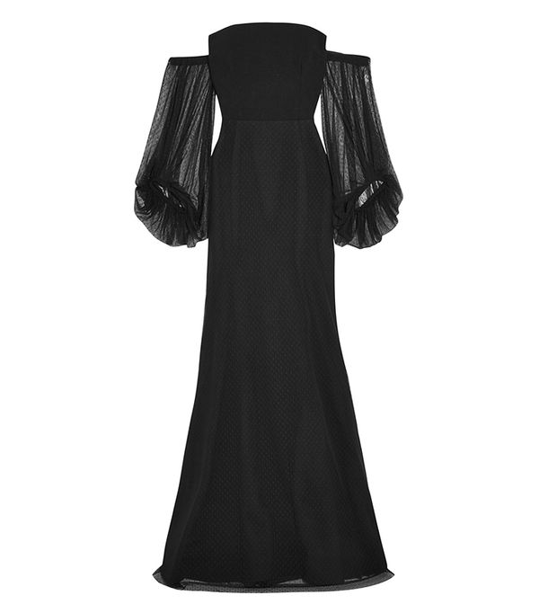 Orlando Off-the-shoulder Point D'esprit And Crepe Gown