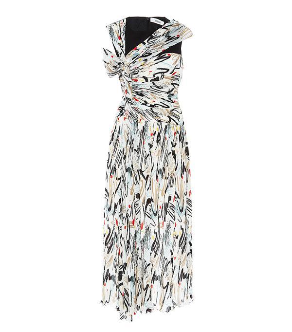 Combo Print Open Shoulder Dress
