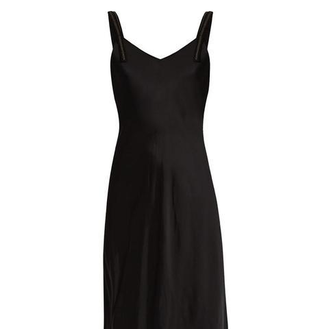 Lace-hem Satin Slip Dress