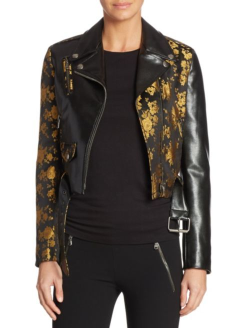 Moschino Floral Print Leather Jacket