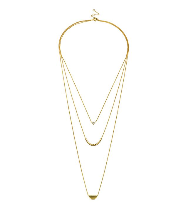Motif Pave Half Moon Layered Necklace