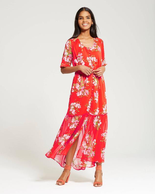 Tiered Maxi Print Dress