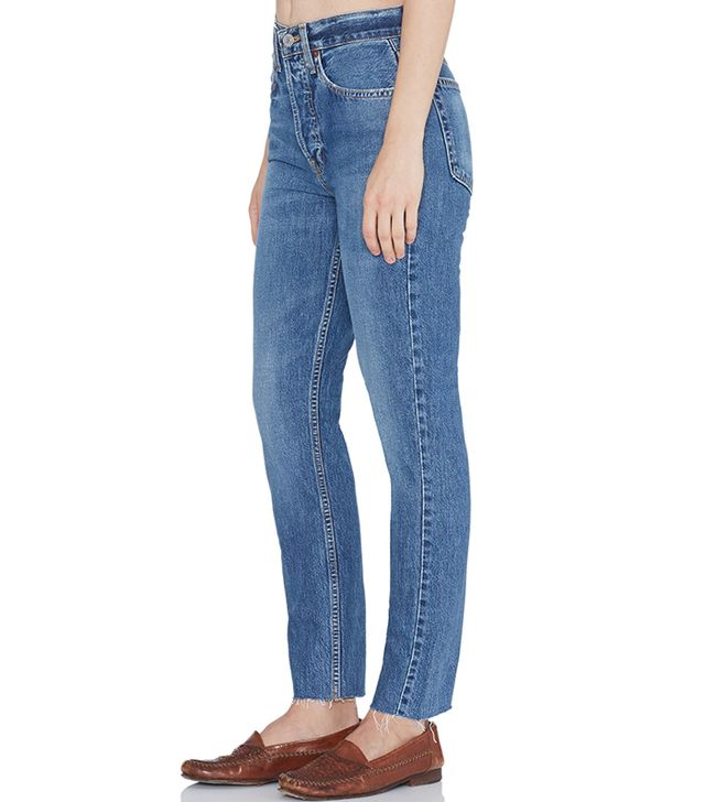 Re/Done Originals High Rise Ankle Crop Rigid Jeans