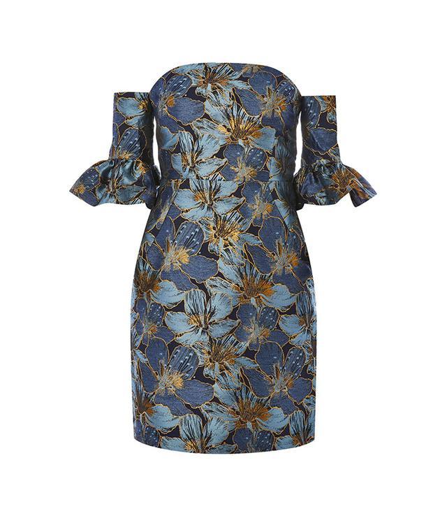 Flute Sleeve Bardot Mini Dress