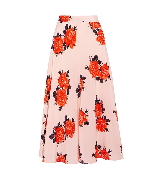 Harness Floral-print Silk Crepe De Chine Midi Skirt