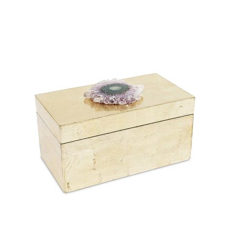 "8"" Brushed Gold Amethyst Crystal Box"