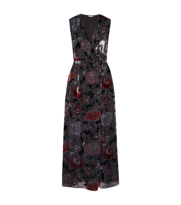 Wrap-effect Floral-print Devoré-chiffon Maxi Dress
