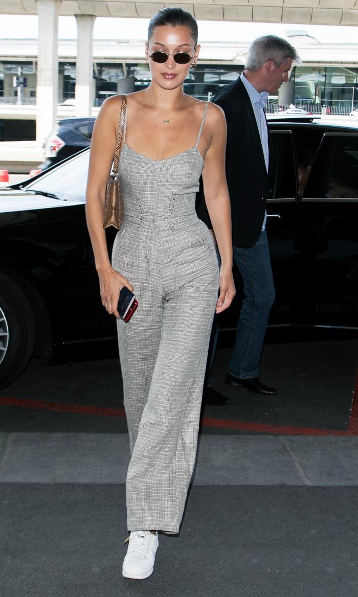 Bella Hadid grey jumpsuit