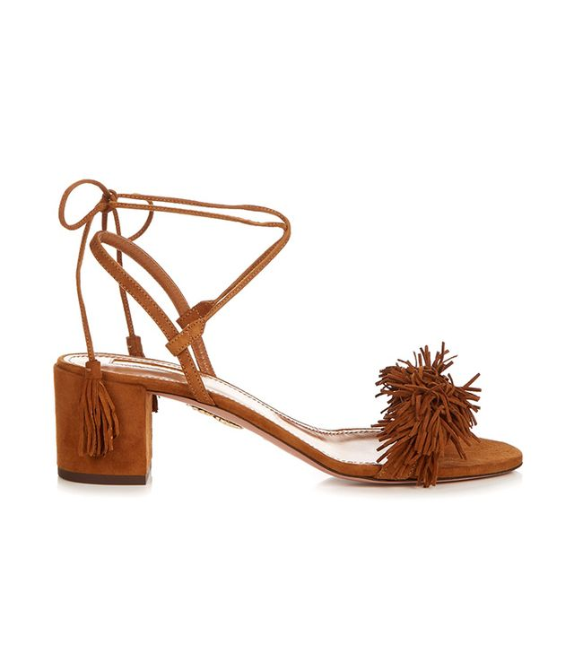 Wild Thing fringed block-heel suede sandals