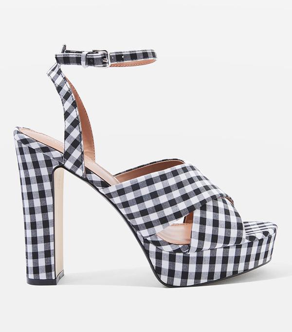 MADRID Gingham Cross Strap Platform Heels