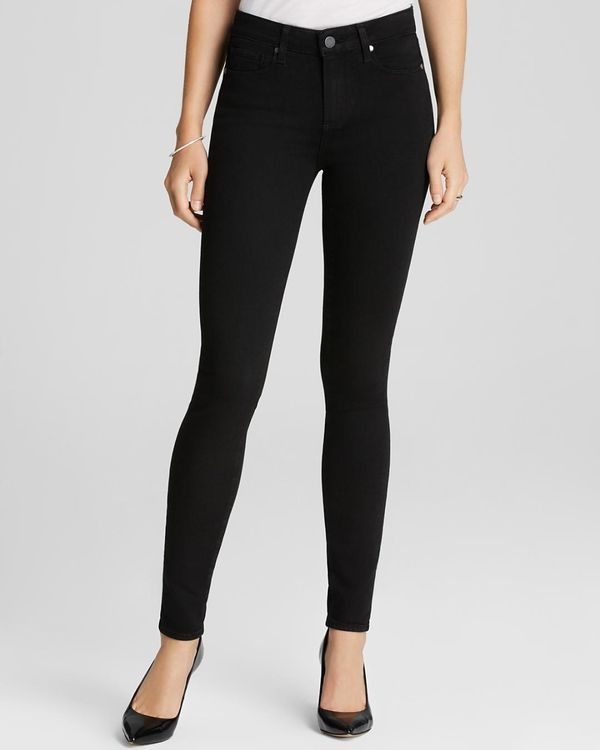 Denim Jeans - Transcend Hoxton High Rise Ultra Skinny in Black Shadow