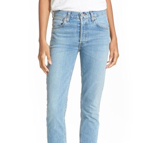 High Waist Straight Skinny Stretch Jeans