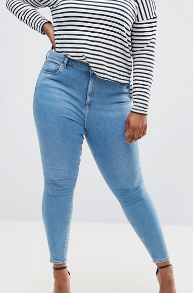 ASOS CURVE Ridley Skinny Jeans in Light Blue Anais Wash