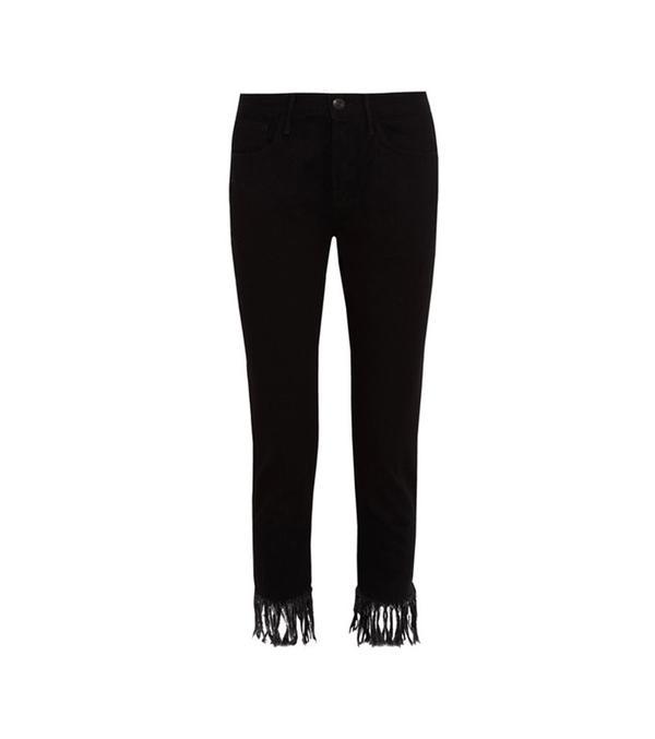Wm3 Crop Fringe High-rise Straight-leg Jeans