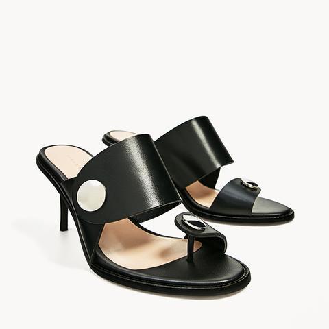 Medium Heel Leather Sandal