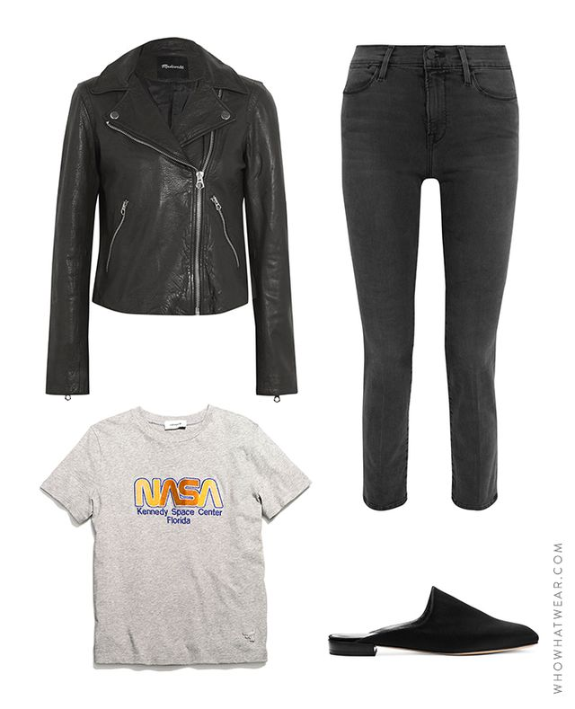 Pictured Above:Madewell Textured-Leather Biker Jacket($500); Frame Le High Straight Jeans($230); Stuart Weitzman Mulearky Slides($398); Coach Embellished Space...