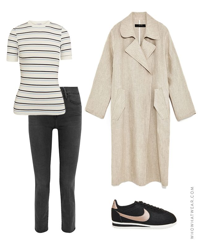 Pictured Above: Frame Striped Ribbed Stretch T-Shirt($115); Zara Linen Trench Coat($100); Nike Cortez Leather Lux Sneakers($49); Frame Le High Straight Jeans($230).