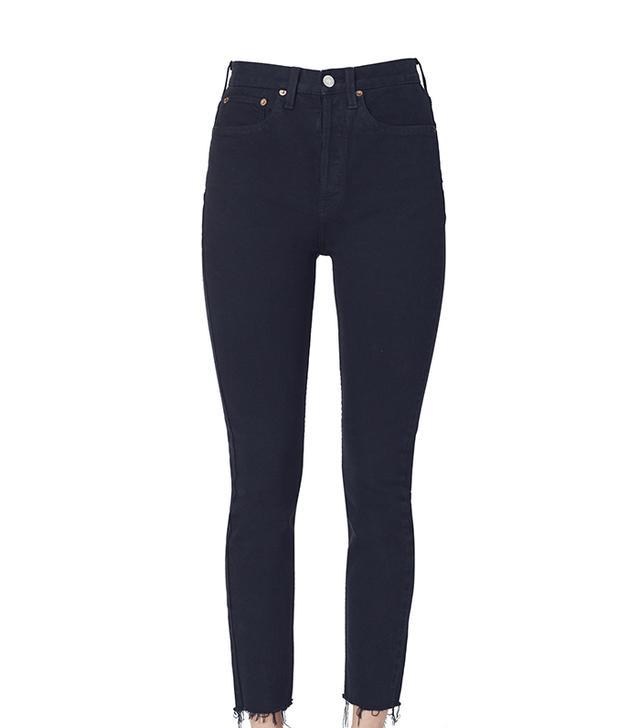 Re/Done Originals High Rise Ankle Crop Stretch Jeans in Black