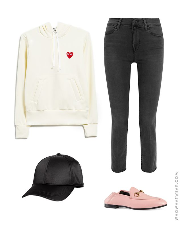 Pictured Above: Comme des GarçonsPlay Sweatshirt in Ivory ($260); Frame Le High Straight Jeans($230); Gucci Brixton Convertible Loafers($630); H&M Satin Cap($13).