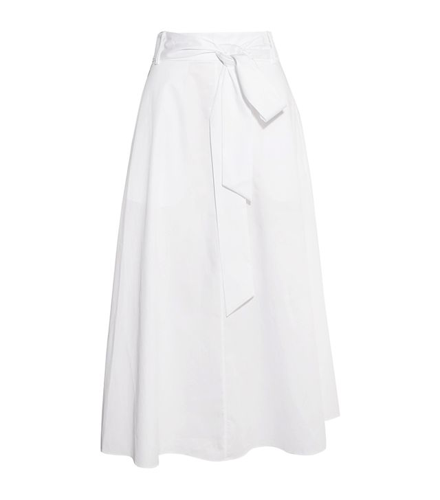 Cotton-poplin Wrap Midi Skirt