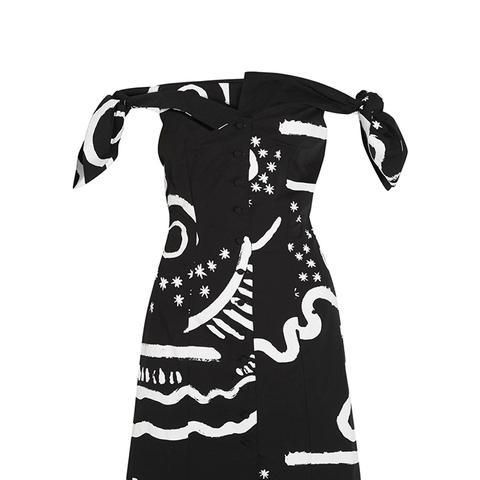 Off-the-Shoulder Printed Cotton-Blend Mini Dress