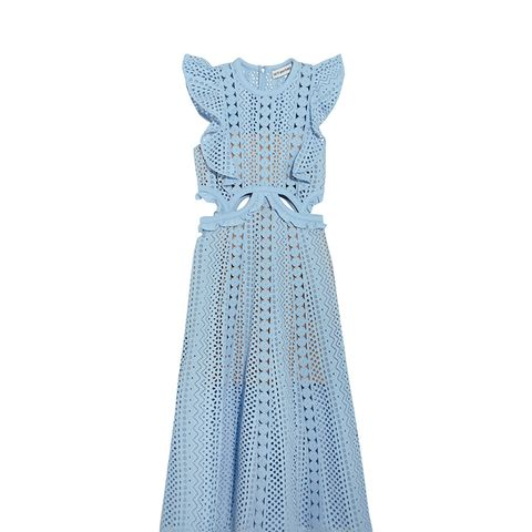 Cutout Guipure Lace and Broderie Anglaise Cotton Dress