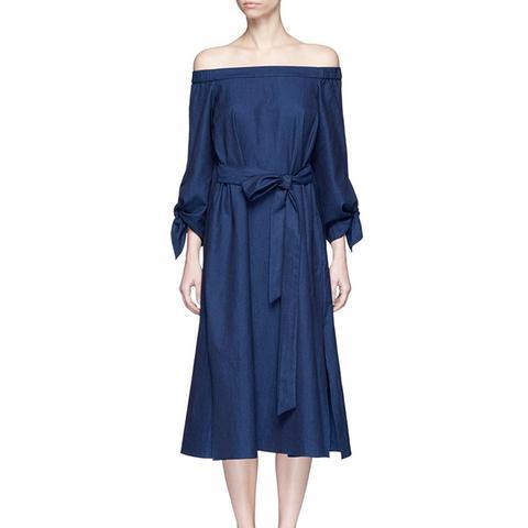 Blue Tie Sleeve Off-Shoulder Denim Dress