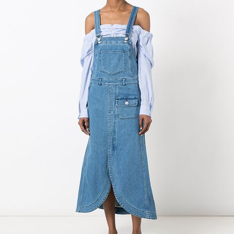 Denim Pinafore Midi Dress