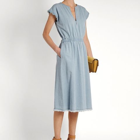 Frayed-Hem V Neck Denim Dress