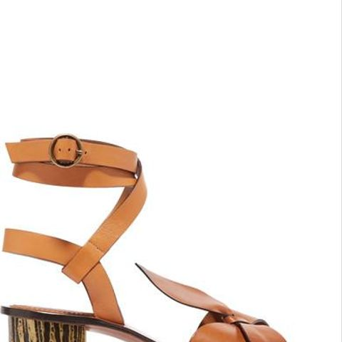 Bow-Detailed Embellished Leather Sandals