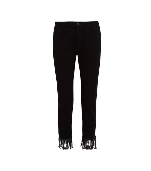 Wm3 Crop Fringe High-rise Straight-leg Jeans
