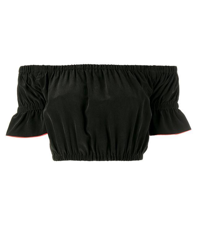 black off-shoulder crop top